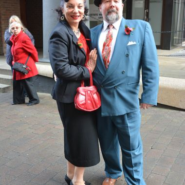 2 lovely people dressed in old fashion, London 2014.