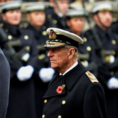 The Duke of Edinburgh on parade at the Cenotaph 2014.