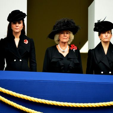Kate, Camilla and Sophie on the Balcony overlooking the Cenotaoh on Remembrance Day parade 2014.