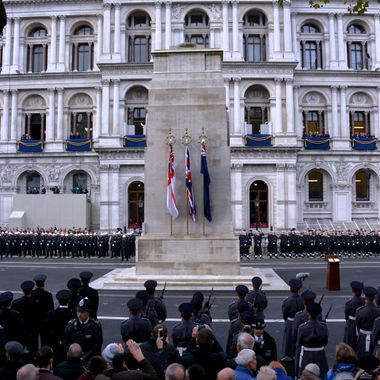 The Cenotaph memorial in Whitehall London on Remembrance Day 2014.