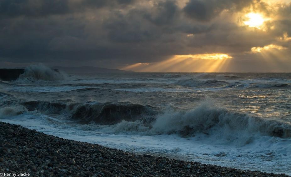 Sunrise after the storm, Lyme Bay, Dorset, England
