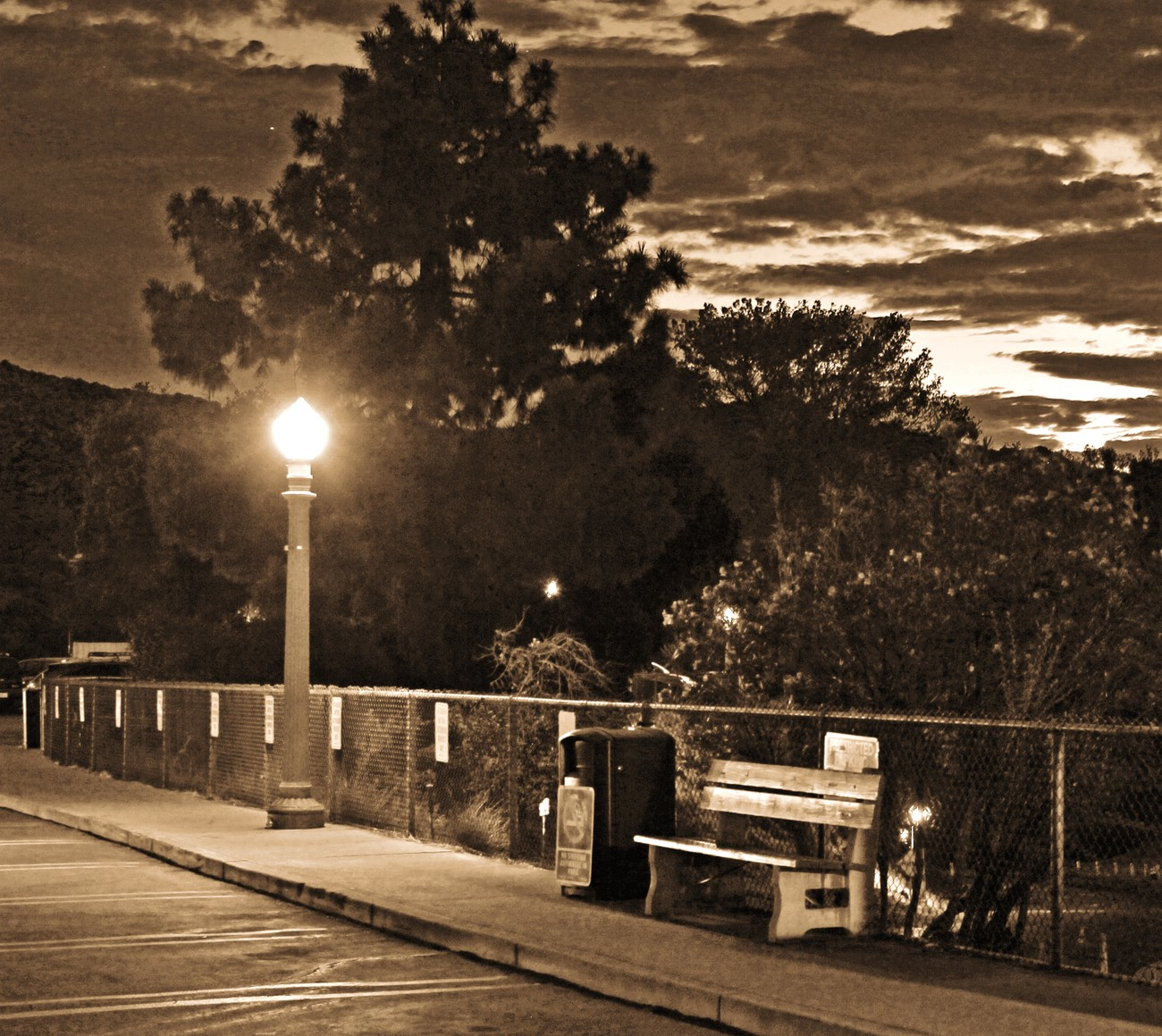Lonely Park Bench at Sunrise - sepia