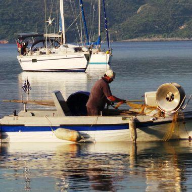 A small fishing boat at Posidonio Bay.