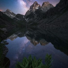 Tha amazing Monviso (Italy, 3841m) at night.