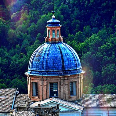 A dome on the roofs of the town of Spoleto in Italy.