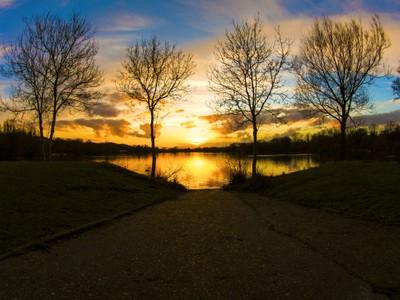Framing a sunset lake