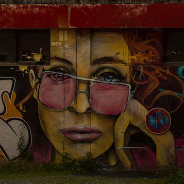 Skilful Graffiti Art on a wall at a College in Chamonix