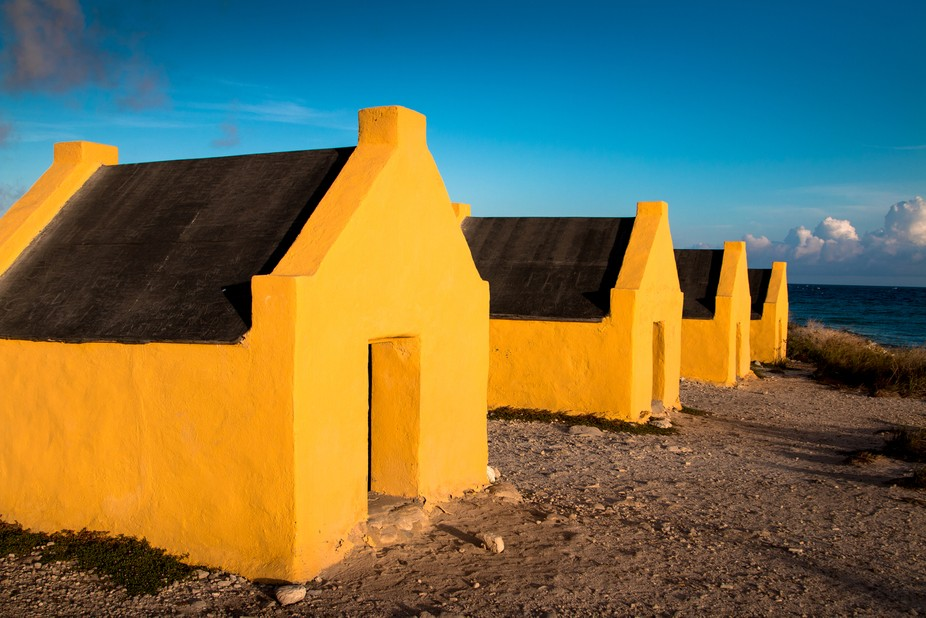 Yellow slave huts, house of slaves that worked in the salt pans of Kralendijk  Bonaire