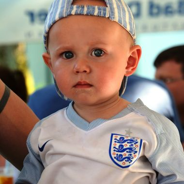 a very young England fan.