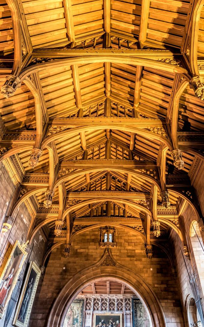 Taken at Bamburgh Castle in Northumberland, England.   This massive ceiling was constructed entirely of wood.
