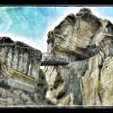 A part of the Externsteine (Rocks) showing the iron Bridge.