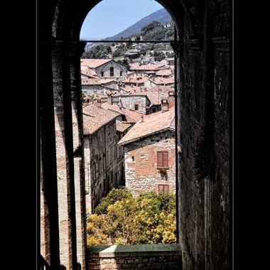 View through an Archway in Spoleto Italy.