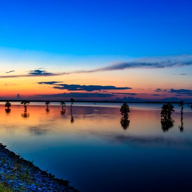 Sunset on Lake Moultrie on the west dike wall