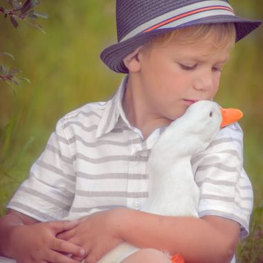 Boy and his duck