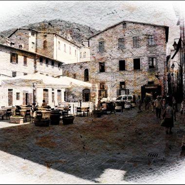 The open Plaza at Spoleto Italy.