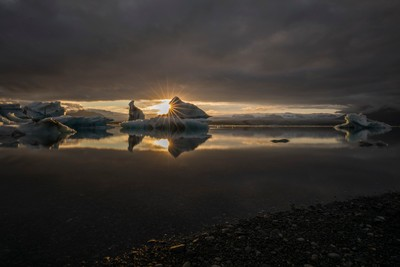 Sunset at Glacier Lagoon