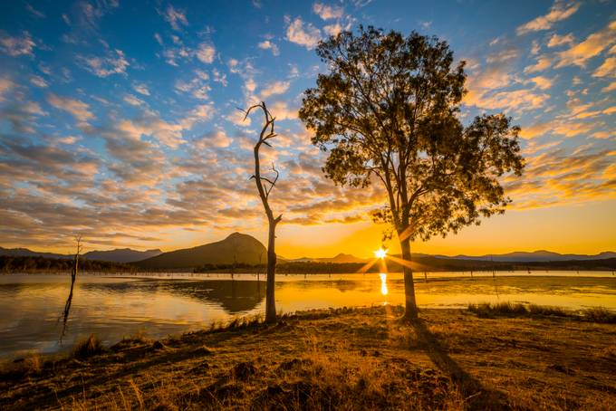 Sun setting over Lake Moogerah by DanMarshall91 - Flares 101 Photo Contest