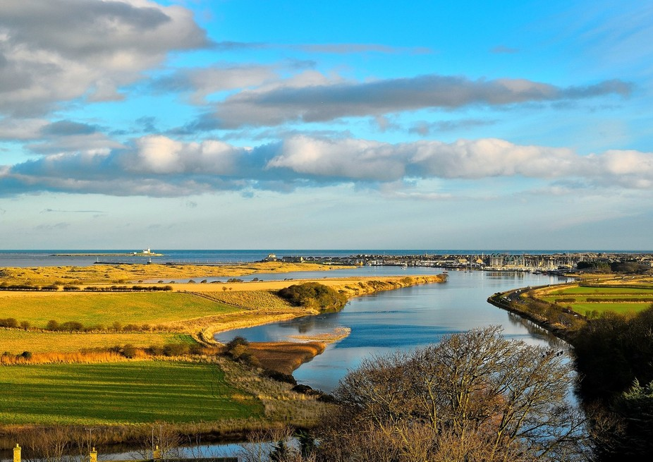 riverscape in warkworth,shoot from warkworth castle just before sunset