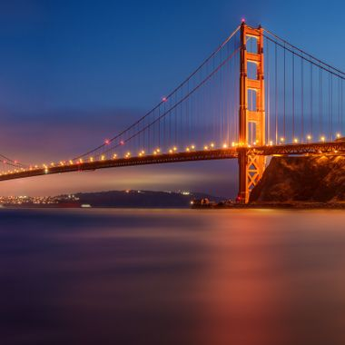 Stunning long exposure pano shot of the incredible Golden Gate Bridge in San Francisco, California.
