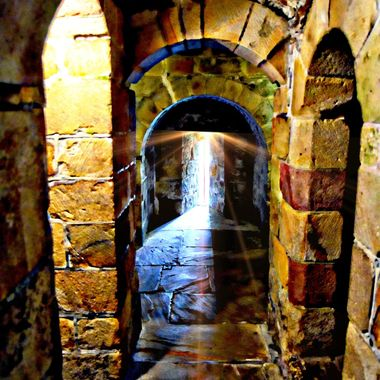 the tunnel of light in Skipton Castle.