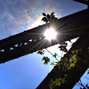 Sunflare through hole in bridge beam