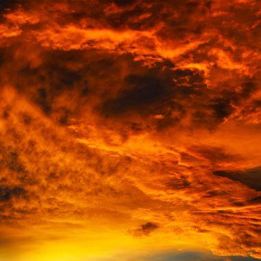 Sunset in backyard 061617 like a volcano
