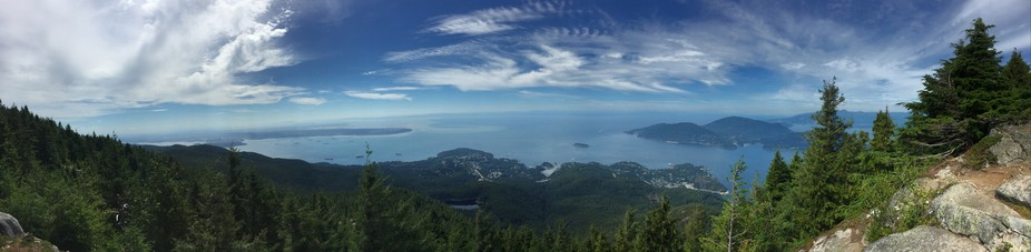 Panoramic shot from Eagle Bluffs. Vancouver starts on the left side of the frame working out to U...