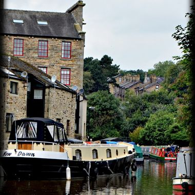 Barges on the Canal in Skipton Yorkshire.