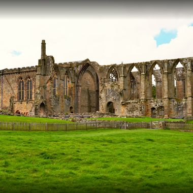 A panorama view of bolton Abbey in Yorkshire UK.