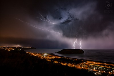 Lightning and lights in the night