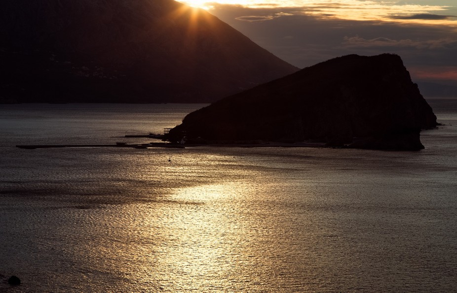 Sun rays over Adriatic sea in Budva,Montenegro