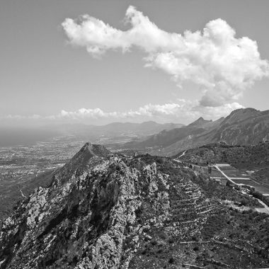 This photo was taken when me and my wife went to St Hilarion Castle, on the Kyrenia Mountains, in the year 2007. Later, I converted this photo to black and white.