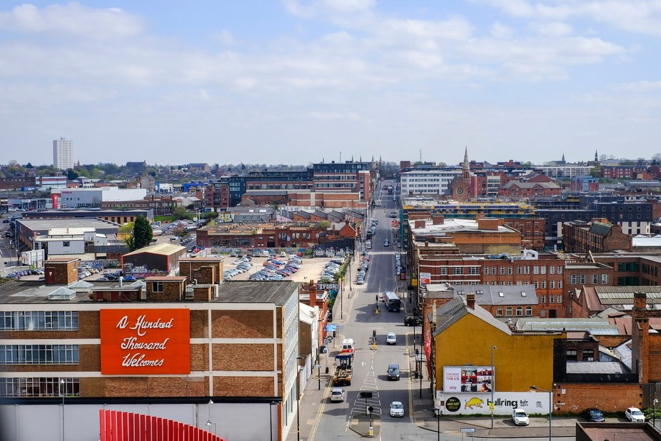 Shot from rooftop looking dow the narrowing street of Digbeth, Birmingham with the iconic Hundred...