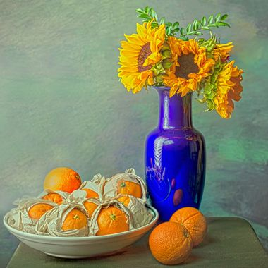 Paper-wrapped Oranges and Sunflowers
