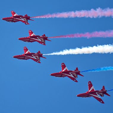 Royal Air Force display team The Red Arrows at RAF Fairford in Gloucestershire for RIAT 2017
