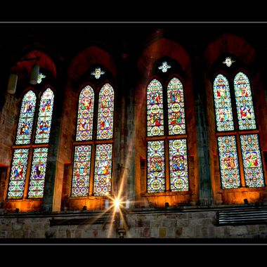 Stained glassed windows in Bolton Abbey Yorkshire UK.