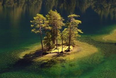 Island in mountain lake