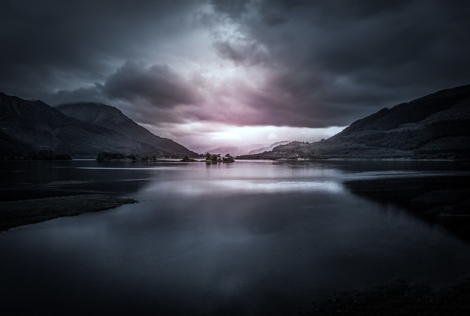 Photographed on a stormy night at Loch Leven in Scotland