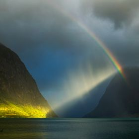A short moment of light on a stormy day, Jølster. Norway