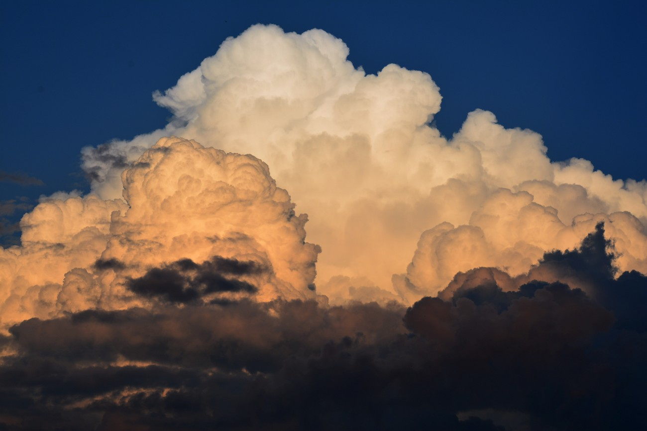 Thunderheads building at sunset