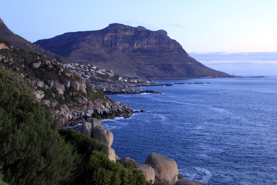 Road to Cape Point looking back towatds Simonstown