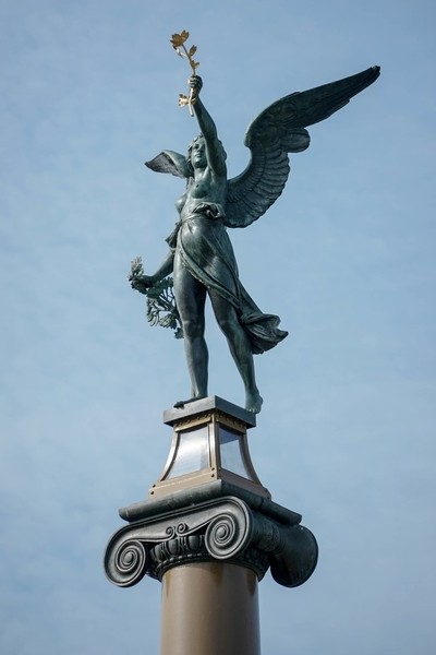 Angel on Top of a Column on the Cechuv Most Bridge in Prague