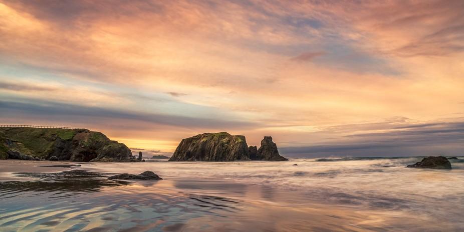 Panorama of Bandon Beach in Oregon at sunset