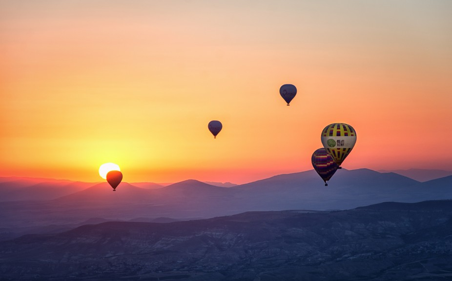 from a hot air balloon ride in Cappadocia