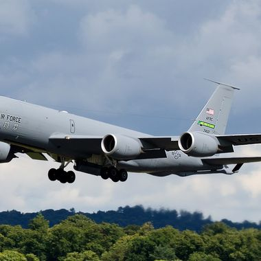 USAF KC135 departing Edinburgh airport after a surprise stop over