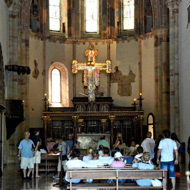 Inside of a beautiful Italian church in Spoleto , Italy.
