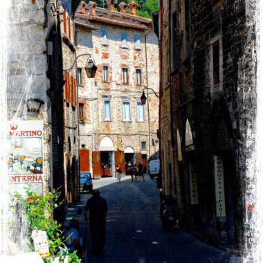 Narrow street in Spoleto,Italy.