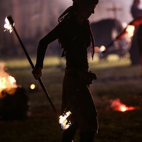 fire-show of the Württemberger knights at there home tournament, end of July 2017