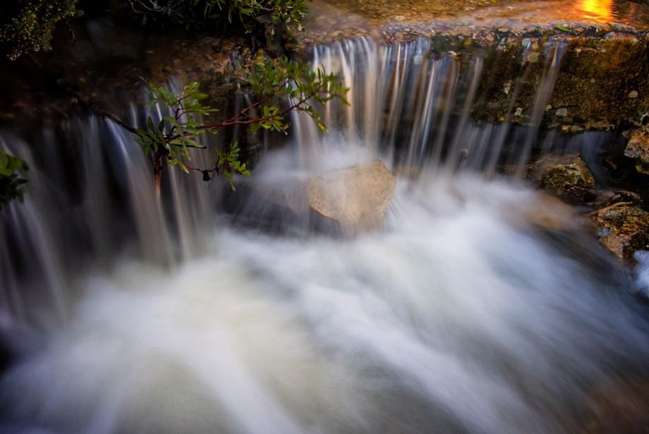 long exposure of falling water