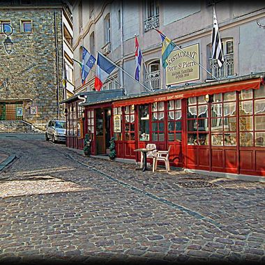 Quaint French restaurant in St Malo, France.